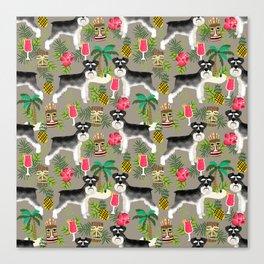 Schnauzer tiki pattern floral hibiscus floral flower pattern palm leaves Canvas Print