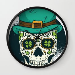 St. Patrick's Day Skull Day of The Dead Drinking Wall Clock