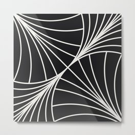 Diamond Series Round Wave White on Charcoal Metal Print