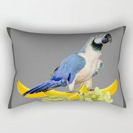 Macaw With Bananas & Grapes Grey Art Rectangular Pillow