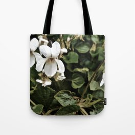 Wild White Violet; Take A Chance On Happiness Tote Bag