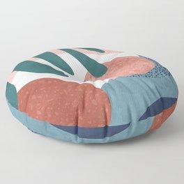 Tropical terrazzo ocher turquoise blue Floor Pillow