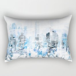people in the city concept - abstract city skyline and people on street double exposure   Rectangular Pillow