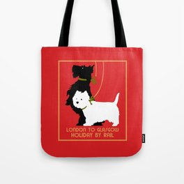 Retro London and Glasgow by train, dogs terriers Tote Bag