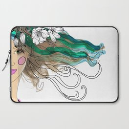 Mujer con flores Laptop Sleeve