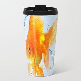 JUMPING  GOLDFISH SPLASHING  WATER ART Travel Mug