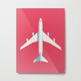747-400 Jumbo Jet Airliner Aircraft - Crimson Metal Print