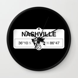 Nashville Tennessee Map GPS Coordinates Artwork with Compass Wall Clock