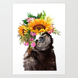 Sloth with Sunflower Crown Art Print