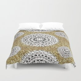 Gold litter and Silver Mandala Patterned Textile Duvet Cover