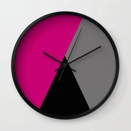 Geometric design in hot pink grey & black Wall Clock