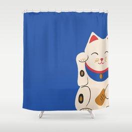Blue Lucky Cat Maneki Neko Shower Curtain