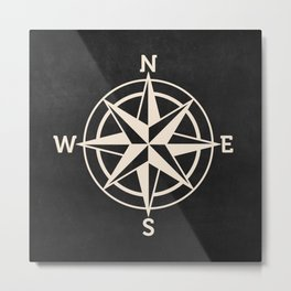compass on black Chalkboard , Metal Print