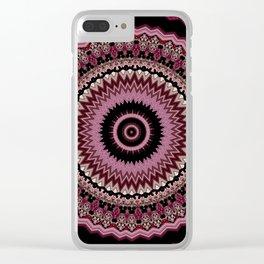 Bohemian Decorative Mauve Dusk Mandala Design Clear iPhone Case