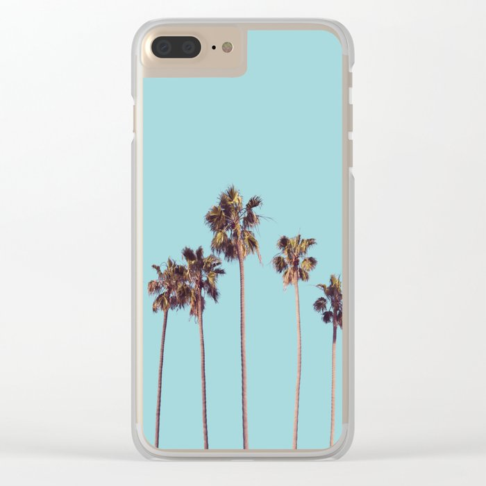 palm trees turquoise Clear iPhone Case