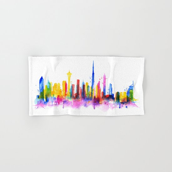Color Dubai Skyline on White Hand & Bath Towel
