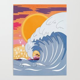 Sunset wave Poster