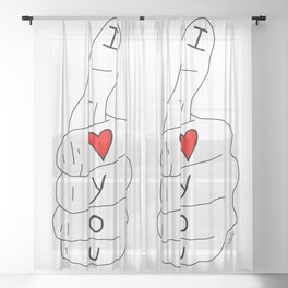 I love you - thumbs up Sheer Curtain