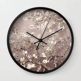 Vincent Van Gogh Almond Blossoms Beige Taupe Wall Clock