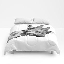 Black and white giraffe Comforters