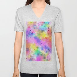 Pastel Rainbow Watercolor Abstract Painting With Dots & Splashes Unisex V-Neck