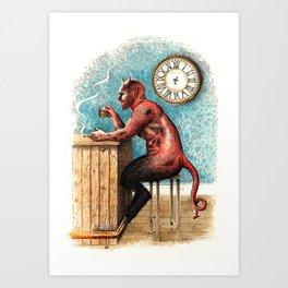 The Demon Drinks Art Print