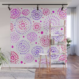 Abstract watercolor sparkles – ultraviolet and pink Wall Mural