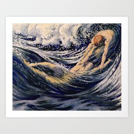 """""""Two fishes swimming in the sea not more lawless than we"""" (Margaret C. Cook, Leaves of Grass, 1913) Art Print"""