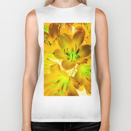 closeup yellow flower with green pollen background Biker Tank
