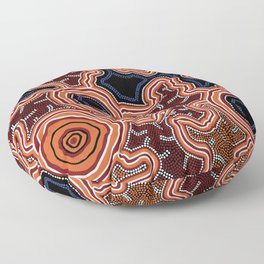 Aboriginal Art Authentic - Pathways Floor Pillow