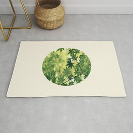 Spring Green Japanese Maple Round Photo Rug