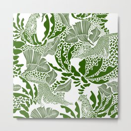 Surreal Tropical Jungle with Big Cats and Butterflies / Green Metal Print