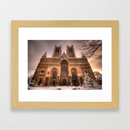 Lincoln Cathedral Snow Framed Art Print