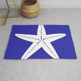 Starfish (White & Navy Blue) Rug