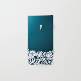 Minimalist Ice Bergs in the blue Ocean - Aerial Photography Hand & Bath Towel