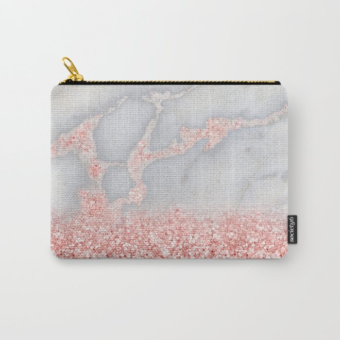 Sparkly Pink Rose Gold Glitter Ombre Bohemian Marble Carry-All Pouch