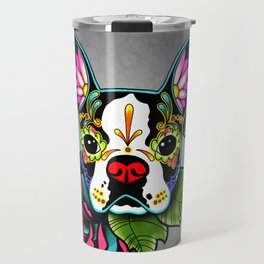 Boston Terrier in Black - Day of the Dead Sugar Skull Dog Travel Mug