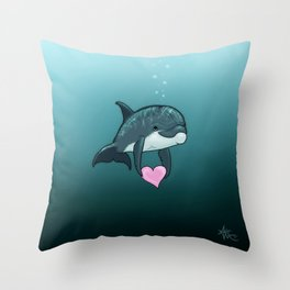 """Love Ya"" by Amber Marine ~ Toon Baby Dolphin Art, (Copyright 2014) Throw Pillow"