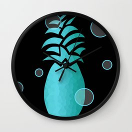 Tropical Blue And Black Wall Clock
