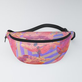 Boho Feather Zig Zag Collage | Watercolor Feather Art Print | Tan Pink Purple Fanny Pack