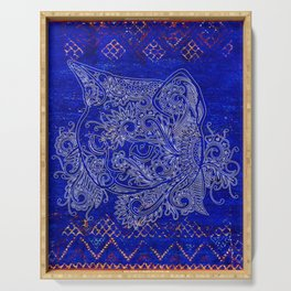 (N20) Tribal Cute Cat Hand Drawing, Traditonal Moroccan Carpet Background Serving Tray