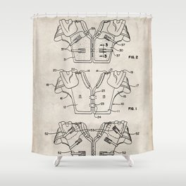 Football Pads Patent - American Football Art - Antique Shower Curtain
