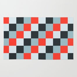 Stainless steel knife - Pixel patten in light gray , light blue and red Rug