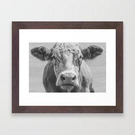 Animal Photography | Highland Cow Portrait Black and White | Farm Animals Framed Art Print