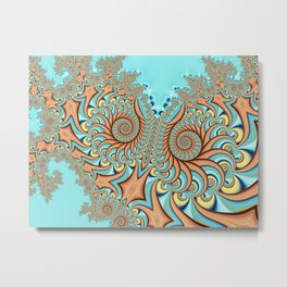 Owl Fractal Turquoise and Orange Metal Print