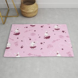 Magic moments with cute bunnies light pink Rug