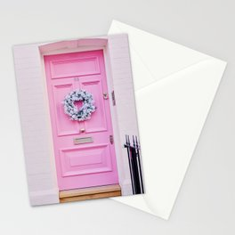 Pink Door with Holiday Wreath in Notting Hill London England Stationery Cards