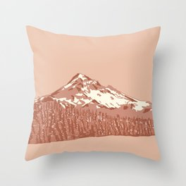 Mount Hood in Peach Pink Throw Pillow
