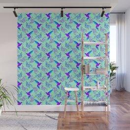 Pretty beautiful cute purple blue hummingbirds, delicate twigs, leaves pastel green lovely pattern Wall Mural