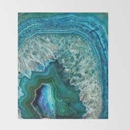 Aqua turquoise agate mineral gem stone Throw Blanket